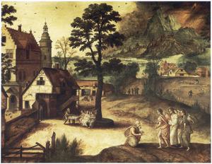 Abraham ontvangt de drie engelen knielend (Genesis 18:2)