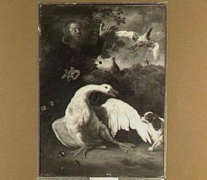 Een witte gans, gestoord door een hondje, met duiven en een jongen