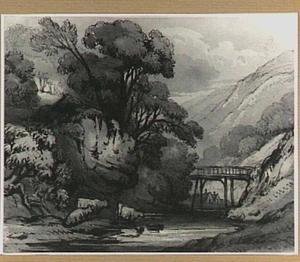 Berglandschap met rivier en houten brug