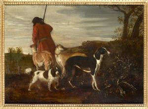 Jager en jachthonden in het veld