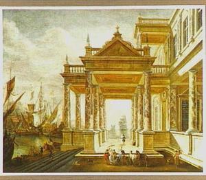Fantasie-architectuur met een paleis aan een haven