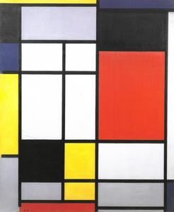 Composition with yellow, blue, black, red, and gray
