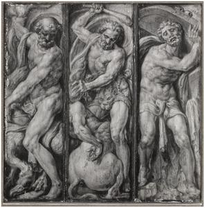 Jupiter, Hercules vernietigt de centaur Nessus, Simson draagt de deuren van de stadspoorten van Gaza op zijn schouders (boven links); Simson verbrijzelt de zuilen van de tempel, Hercules en Antaeus, Saturnus die één van zijn kinderen verslindt (boven rechts); Neptunus doorsteekt met zijn drietand een zeepaard, Simson verslaat de Filistijnen, Hercules draagt de hemel zuil (onder links); Hercules doodt de Hydra van Lerna, Simson verscheurt de leeuw, Pluto en Cerberus (onder rechts)