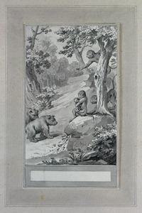 Illustratie bij 'De aapen en de beeren' uit de Fabelen en vertelsels van F.C. Gellert