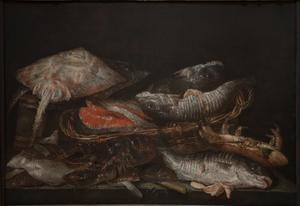 Visstilleven met kreeft, krab, rog, schol en moten zalm