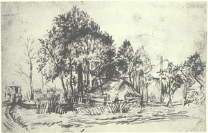 Boerderij met hooiberg omgeven door bomen