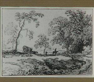 Landschap met een huifkar en een ruiter