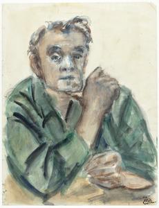 Zelfportret Fiedler met kin rustend op duim