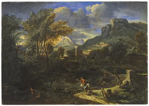 Arcadisch landschap met twee jagers te paard