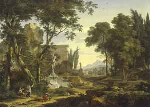 Arcadisch landschap met een standbeeld van Priapus