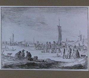 Strandgezicht met vissersboten en visverkopers