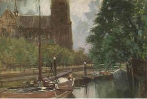 Maartensgat in Dordrecht met de Grote of Onze-Lieve-Vrouwekerk