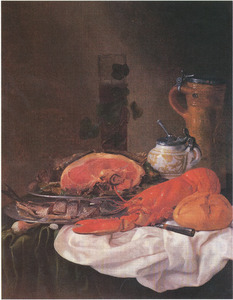 Stilleven met kreeft, brood en ham