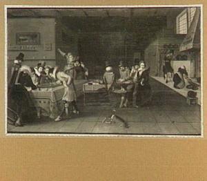 Interieur met drinkende en spelende figuren