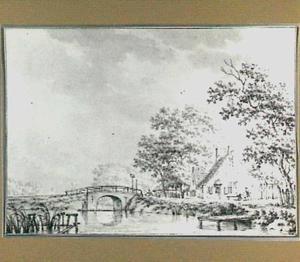 Rivierlandschap met brug en bebouwing
