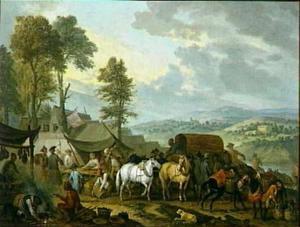 Fouragerende soldaten in een dorp