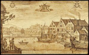Gefantaseerde compositie met brouwerij De Drie Leliën aan het Haarlemse Spaarne, de hofstede Velserend in Santpoort en (vanuit het noorden) de ruïne van kasteel Brederode