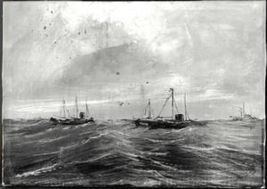 Zeegezicht met boten