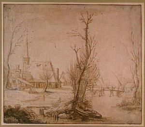 Winters landschap met kerk