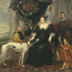 Dubbelportret van Alethea Talbot (1585-1654), gravin van Arundel en Sir Dudley Carleton (1573-1632),  met twee bedienden