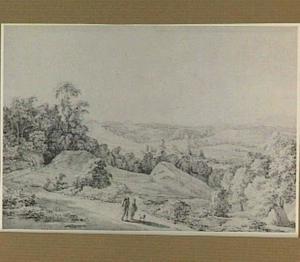Heuvellandschap met figuren op een weg
