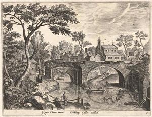 Landschap met stadswal en vervallen brug