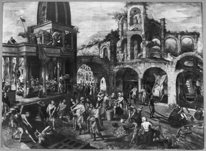Marktplein met klassieke architectuur met de vrijlating van Barabbas; links wordt een feestmaal aangericht met achter de tafel de met doornen gekroonde Christus