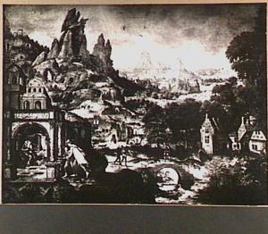 Panoramisch berglandschap met op de voorgrond Jacob die Esau met list en bedrog Isaaks vaderlijke zegen ontsteelt (Genesis 27:22-29)
