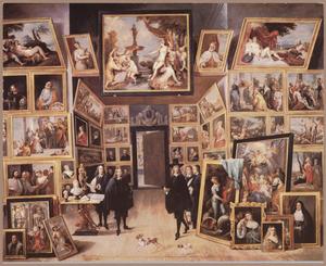 Aartshertog Leopold Wilhelm von Habsburg (1614-1662)  in zijn kunstgalerie te Brussel