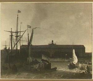 Schepen op het IJ voor de magazijnen van de VOC op het eiland Oosterburg