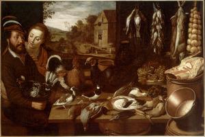 Een man en een vrouw bij een tafel met levend en dood gevogelte vaatwerk en etenswaren, met een doorkijk naar een erf