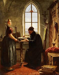 Een oudekoster in zijn werkrvertrek met een jonge vrouw