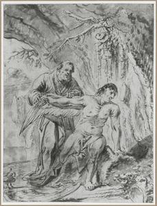Daedalus bevestigt de vleugels aan Icarus
