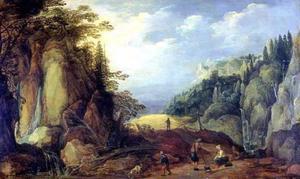 Berglandschap met rustende reizigers