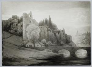 Landschap met ruïne en brug