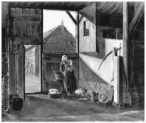 Dienstmeisje aan de was in een boerenschuur
