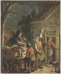 Aankomst van een dame in een rijtuig bij een herberg