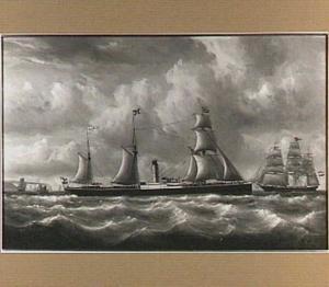 Stoomschip 'Koningin der Nederlanden' in de Straat van Dover