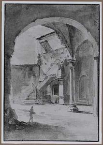Romeinse binnenplaats gezien door een boog