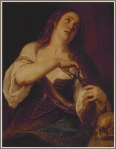De H Maria Magdalena zich de haren afknippend