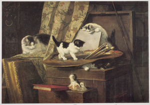 Katjes spelend met schildergerei