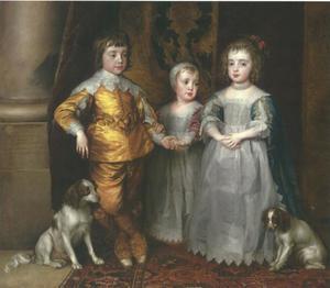 De drie oudste kinderen van Karel I Stuart (1600-1649) en Henriëtta Maria de Bourbon (1609-1669): Charles (1630-1685), Mary (1631-1660) and James (1633-1685), met twee spaniëls