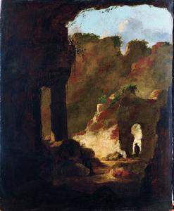 Berglandschap met antieke ruïnes
