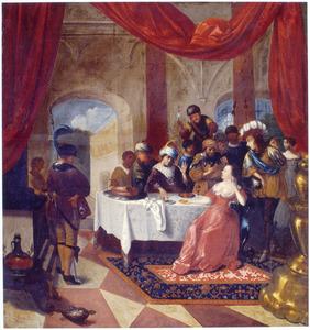 De koningin van Seba stelt Salomo op de proef met raadsels (1 koningen 10:1-10; Kronieken 9:1-9 )