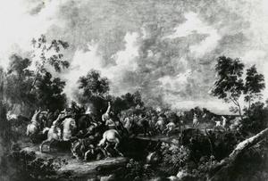 Ruitergevecht in boomrijke omgeving
