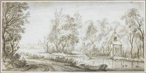 Boomrijk rivierlandschap met huisje aan de waterkant