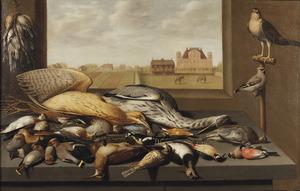 Stilleven met vogels; daarachter een doorkijk naar een landschap met een landhuis