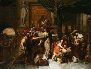 Achilles tussen de dochters van Lykomedes door Odysseus herkend
