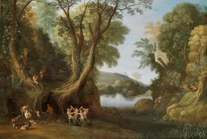 Fauns in een boslandschap