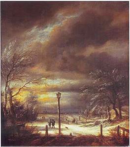 Winterlandschap met wandelaars